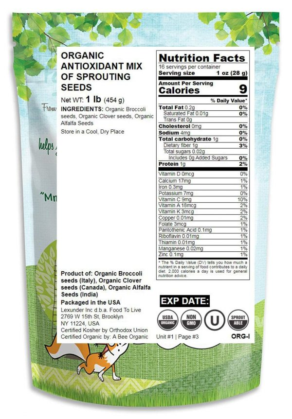 Organic Antioxidant Mix of Sprouting Seeds