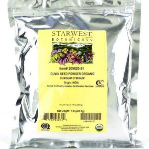 Starwest Botanicals Organic Ground Cumin Seed Powder, 1 Pound Bulk Spice