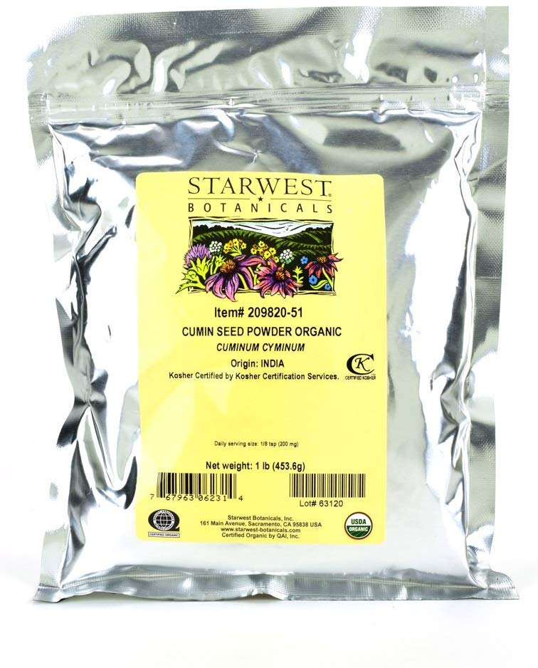 Starwest Botanicals Organic Ground Cumin Seed Powder, 1 Pound Bulk Spice